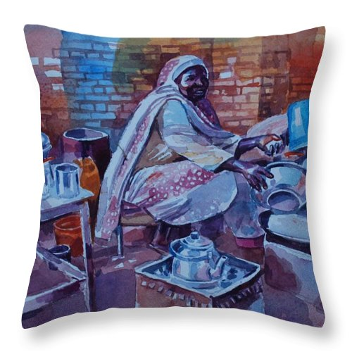 Woman Tea Throw Pillow featuring the painting Woman Tea by Mohamed Fadul