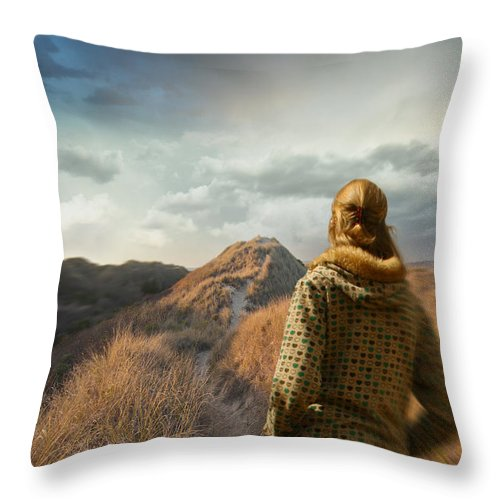 Alone Throw Pillow featuring the photograph Woman Walking On Top Of Sand Dunes by Sandra Cunningham
