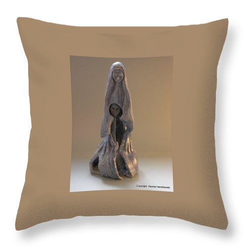Womb Throw Pillow featuring the sculpture Womb Ceramics Sculpture In Grey Woman And Child In Her Womb Large Hands Long Hair  by Rachel Hershkovitz