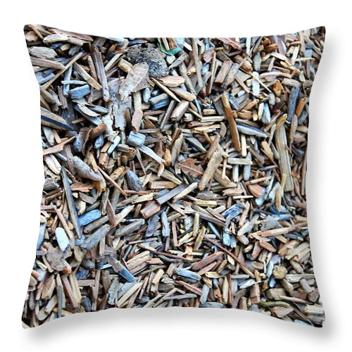 Background Throw Pillow featuring the photograph Wood Chips by Henrik Lehnerer