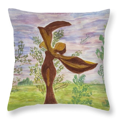 Wooden Fairy Throw Pillow featuring the painting Wooden Femme by Sonali Gangane