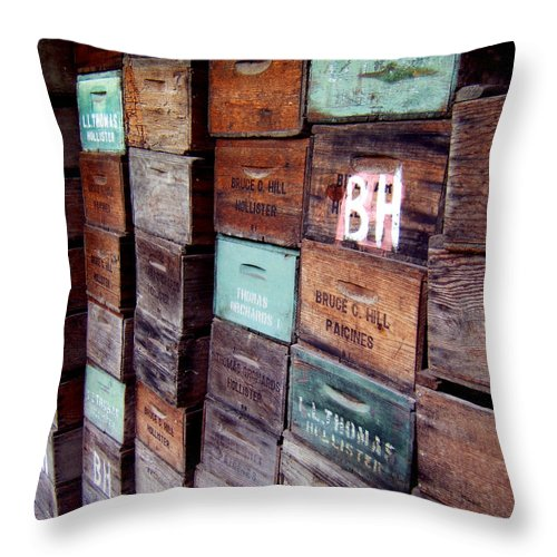 Artoffoxvox Throw Pillow featuring the photograph Wooden Produce Boxes Photograph by Kristen Fox