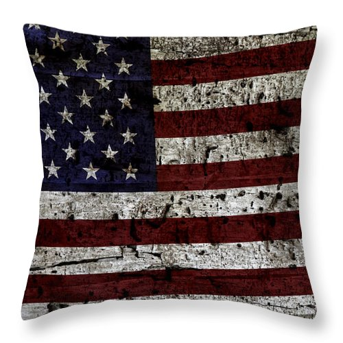 Usa Throw Pillow featuring the photograph Wooden Textured Usa Flag2 by John Stephens