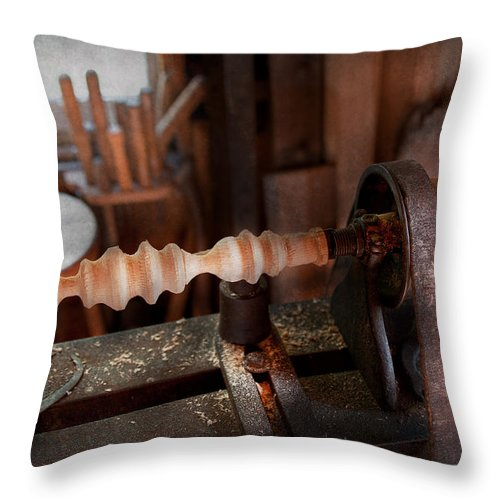 Carpenter Throw Pillow featuring the photograph Woodworker - Lathe - Rough Cut by Mike Savad