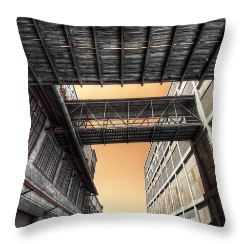 Woolstores Throw Pillow featuring the photograph Woolstores by Wayne Sherriff