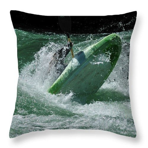 Kayaking Throw Pillow featuring the photograph Working The Rapids by Vivian Christopher