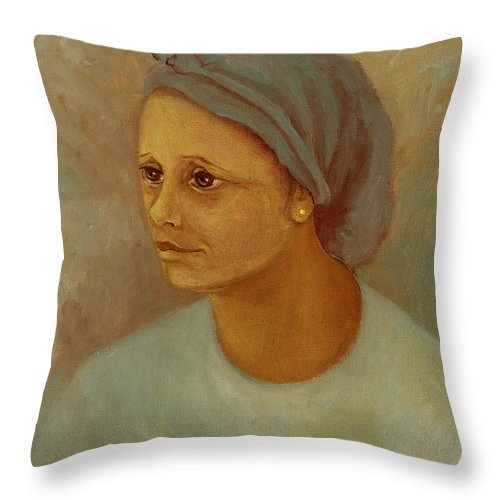 Woman Throw Pillow featuring the painting Working Woman by Rachel Hershkovitz
