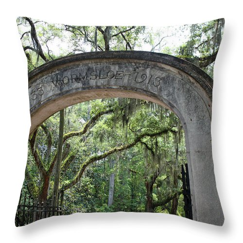 Wormsloe Throw Pillow featuring the photograph Wormsloe 1733-1913 by Suzanne Gaff