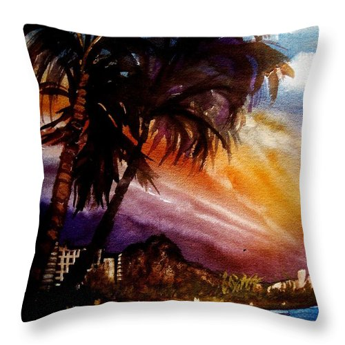 Hawaii Throw Pillow featuring the painting Worth The Wait by Lil Taylor