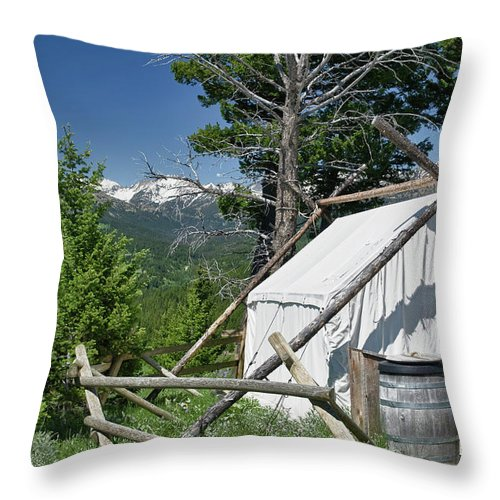 Americas Throw Pillow featuring the photograph Wrangler Tent With A View by Roderick Bley