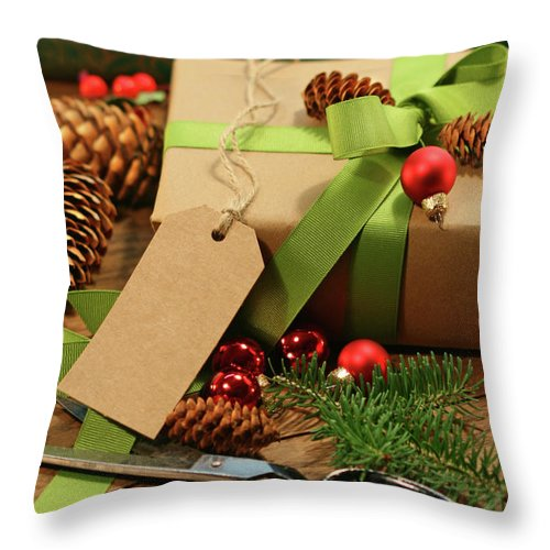 Background Throw Pillow featuring the photograph Wrapping Gifts For The Holidays by Sandra Cunningham