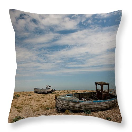 Boat Throw Pillow featuring the photograph Wrecked Boats Dungeness by Dawn OConnor