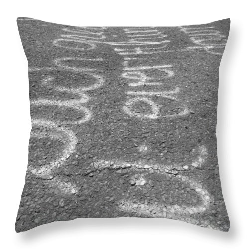 Graffitti Throw Pillow featuring the photograph Writing On The Road by Michele Nelson