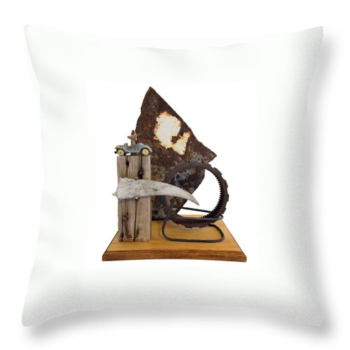 Assemblage Sculptures Throw Pillow featuring the sculpture Wrong Directions by Snake Jagger