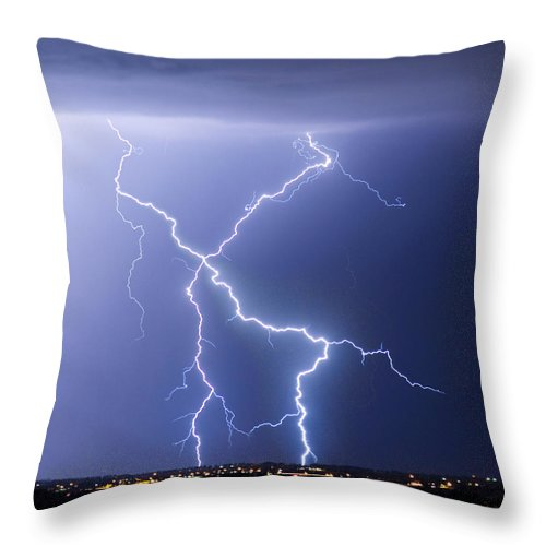 City Throw Pillow featuring the photograph X Lightning Bolt In The Sky by James BO Insogna