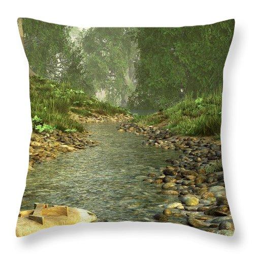 Landscape Throw Pillow featuring the digital art X Marks The Spot by Daniel Eskridge
