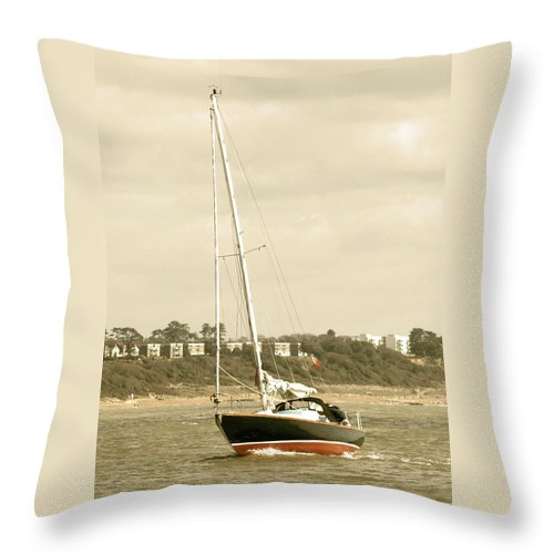 Yacht Throw Pillow featuring the photograph Yacht Entering Christchurch Harbour by Chris Day