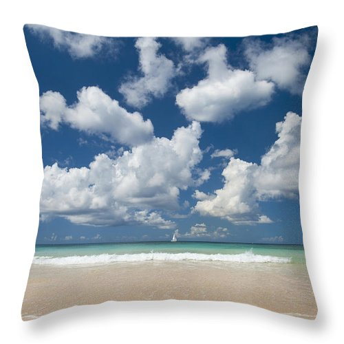 Barbados Throw Pillow featuring the photograph Yacht In The Distance Off The West by Axiom Photographic