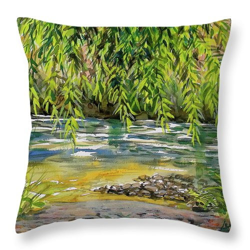 Plein Air Watercolor Throw Pillow featuring the painting Yakima River by Lynne Haines