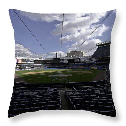 Baseball Throw Pillow featuring the photograph Yankee Stadium by Paul Plaine