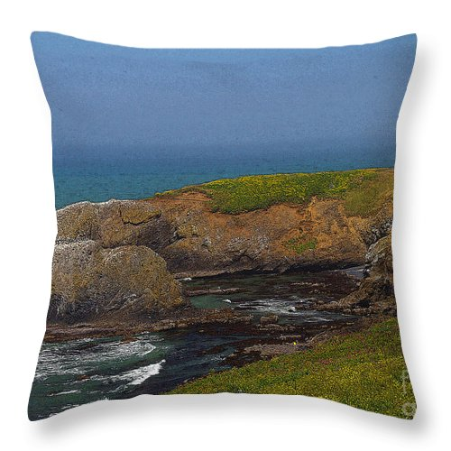 Oregon Throw Pillow featuring the photograph Yaquina Head Lighthouse And Bay - Posterized by Rich Walter