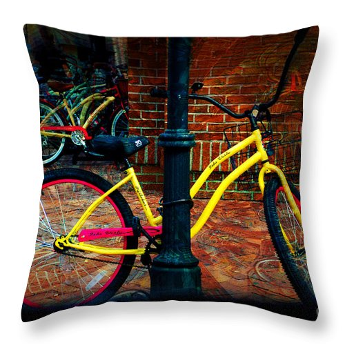 Bike Throw Pillow featuring the photograph Yellow Bike by Donna Bentley