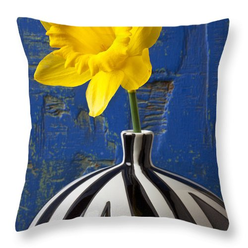 Yellow Throw Pillow featuring the photograph Yellow Daffodil In Striped Vase by Garry Gay