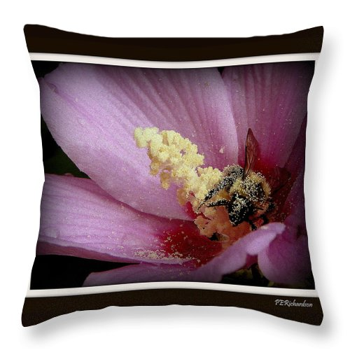 Bee Throw Pillow featuring the photograph Yellow Feet by Priscilla Richardson