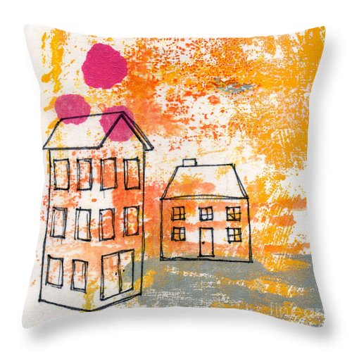 Abstract Throw Pillow featuring the painting Yellow House by Linda Woods