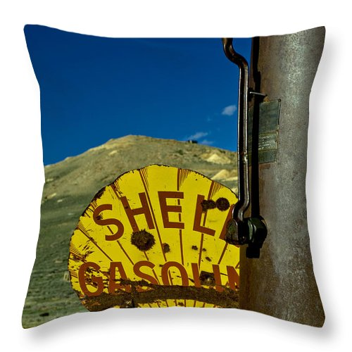 Shell Gas Throw Pillow featuring the photograph Yellow Is For Shell by Aron Kearney