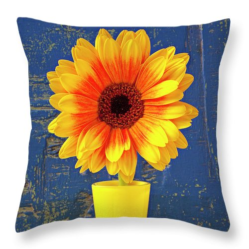 Mum Throw Pillow featuring the photograph Yellow Mum In Yellow Vase by Garry Gay