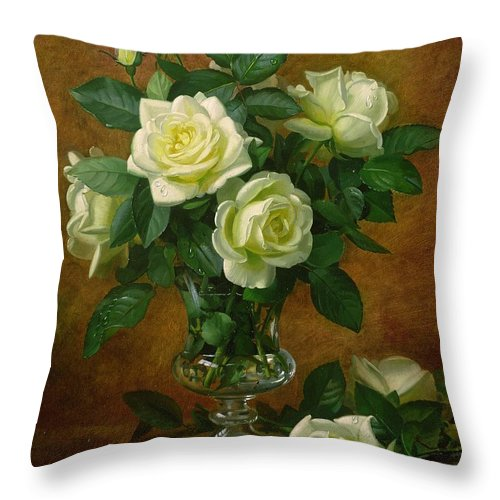 Rose; Still Life; Flower; Arrangement; Glass; Vase; Pale; Floral; Sentimental; Symbolic; Roses; Flowers; Yellow Roses; Leafs; Yellow Roses On Floor Throw Pillow featuring the painting Yellow Roses by Albert Williams