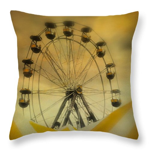 Yellow Throw Pillow featuring the photograph Yellow Seats by Gothicrow Images