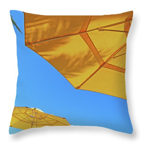 Umbrella Throw Pillow featuring the photograph Yellow Time by Lizi Beard-Ward