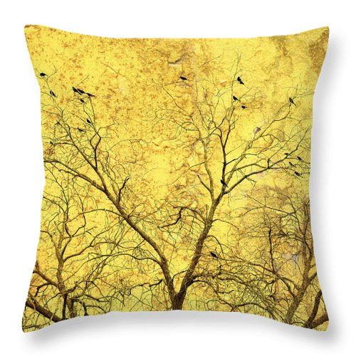 Abstract Throw Pillow featuring the photograph Yellow Wall by Skip Nall