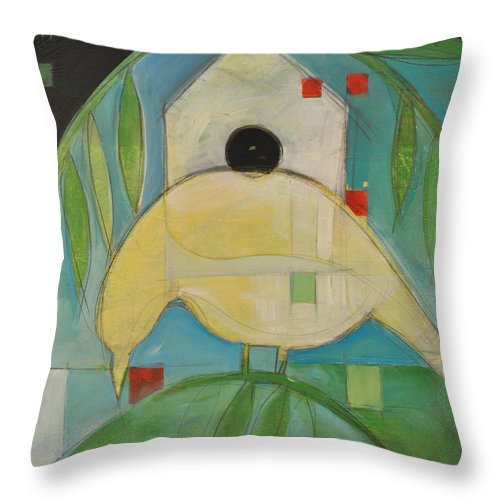 Bird Throw Pillow featuring the painting Yellowbird Whitehouse by Tim Nyberg