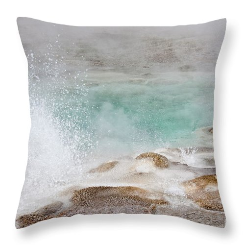 Yellowstone National Park Throw Pillow featuring the photograph Yellowstone Hot Pool by Carolyn Fox