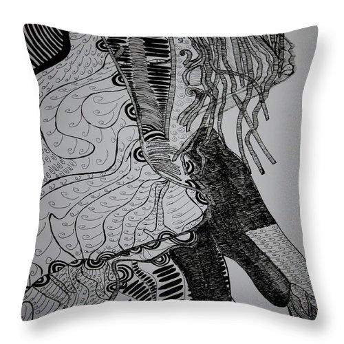 Jesus Throw Pillow featuring the drawing Yoruba Bata Dance From Nigeria by Gloria Ssali