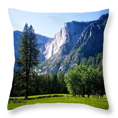 Yosemite Throw Pillow featuring the photograph Yosemite Falls From The Ahwahnee by Eric Tressler
