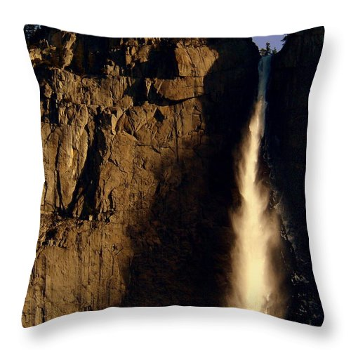 Yosemite Falls Throw Pillow featuring the photograph Yosemite Falls Winter Morn' by Jeff Lowe