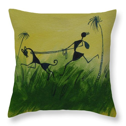 Warli Art Throw Pillow featuring the painting You En I In This Beautiful World by Chintaman Rudra