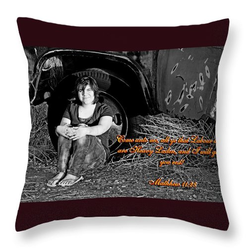 Female Throw Pillow featuring the photograph You Shall Find Rest by Charles Benavidez