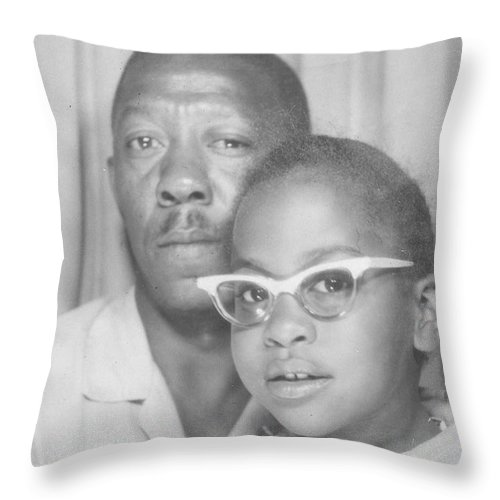 Throw Pillow featuring the photograph Young Angela With Her Dad by Angela L Walker