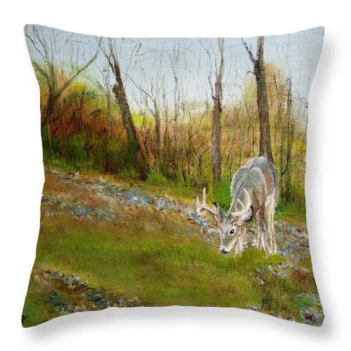 Nature Throw Pillow featuring the painting Young Buck by Peggy King