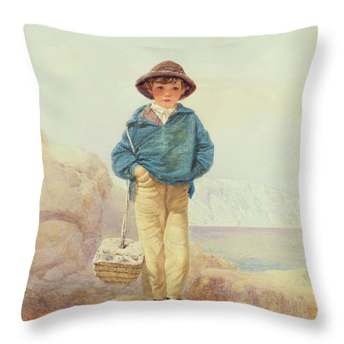 Young England - A Fisher Boy Throw Pillow featuring the painting Young England - A Fisher Boy by Alfred Downing Fripp