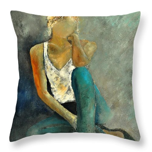 Figurative Throw Pillow featuring the painting Young Girl 562190 by Pol Ledent