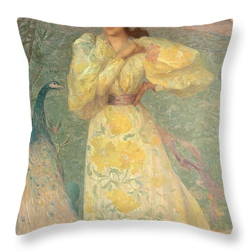 Portrait; Garden; Female; Bird; Tail; Paon Throw Pillow featuring the painting Young Girl With A Peacock by Edmond-Francois Aman-Jean