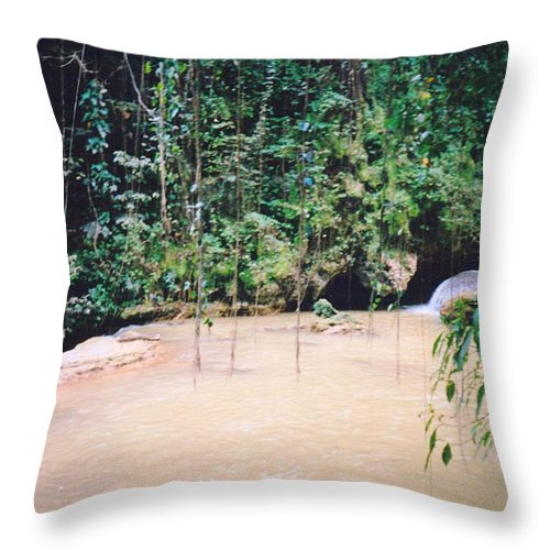 Jamaica Throw Pillow featuring the photograph YS Falls2 Jamaica by Debbie Levene
