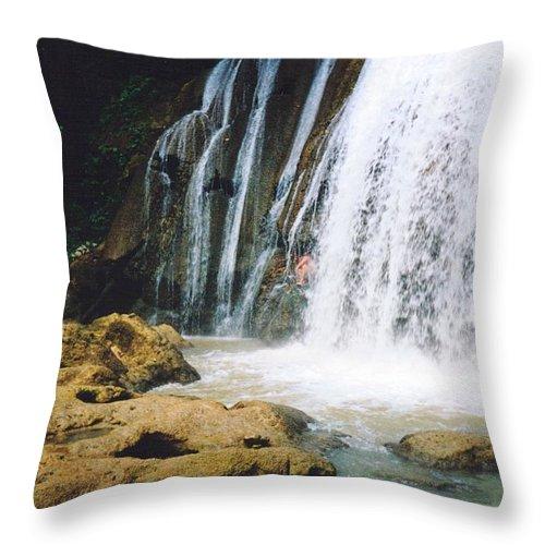 Jamaica Throw Pillow featuring the photograph Ys Falls4 Jamaica by Debbie Levene