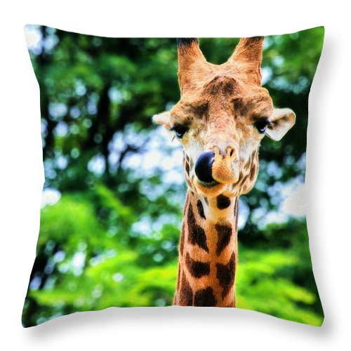 Masai Giraffe Throw Pillow featuring the photograph Yum Sllllllurrrp by Angela Rath